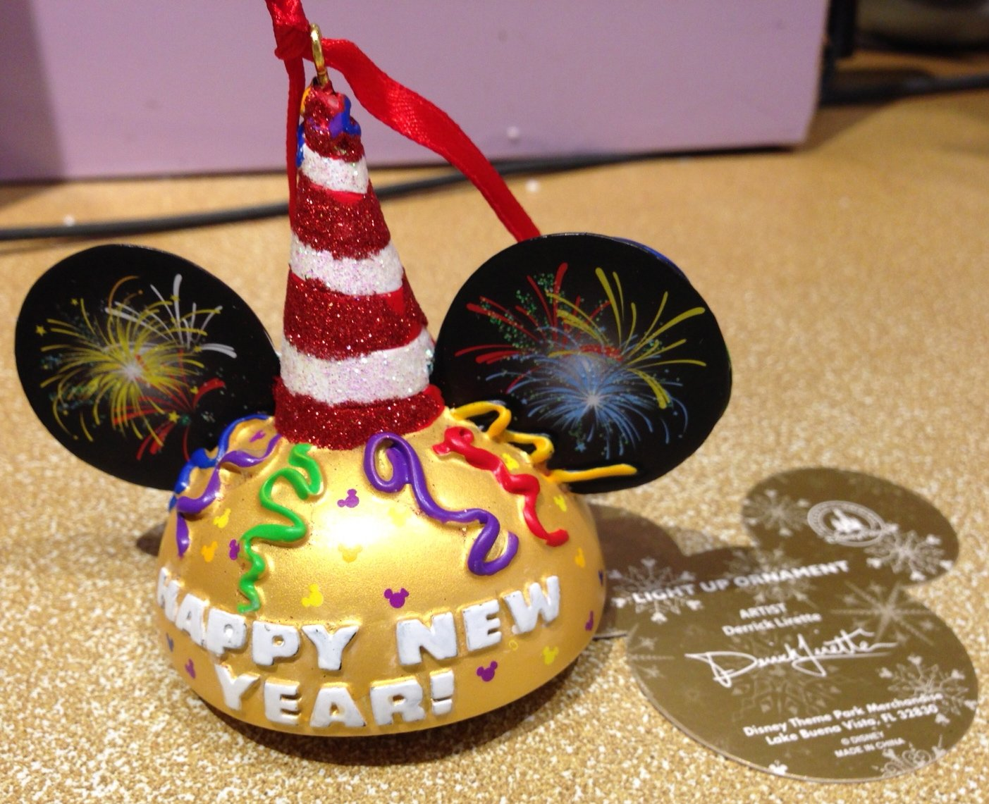 Disney Parks Happy New Year Mickey Mouse Ears Hat Ornament