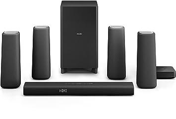 Philips Zenit Système Home Cinéma 5.1 Bluetooth/NFC avec caisson de basse/Enceinte arrière sans fil Noir/Argent