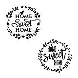 AZDIY Reusable Stencil Set- 2 Design of Home Sweet Home Stencil with Laurel Wreath 12