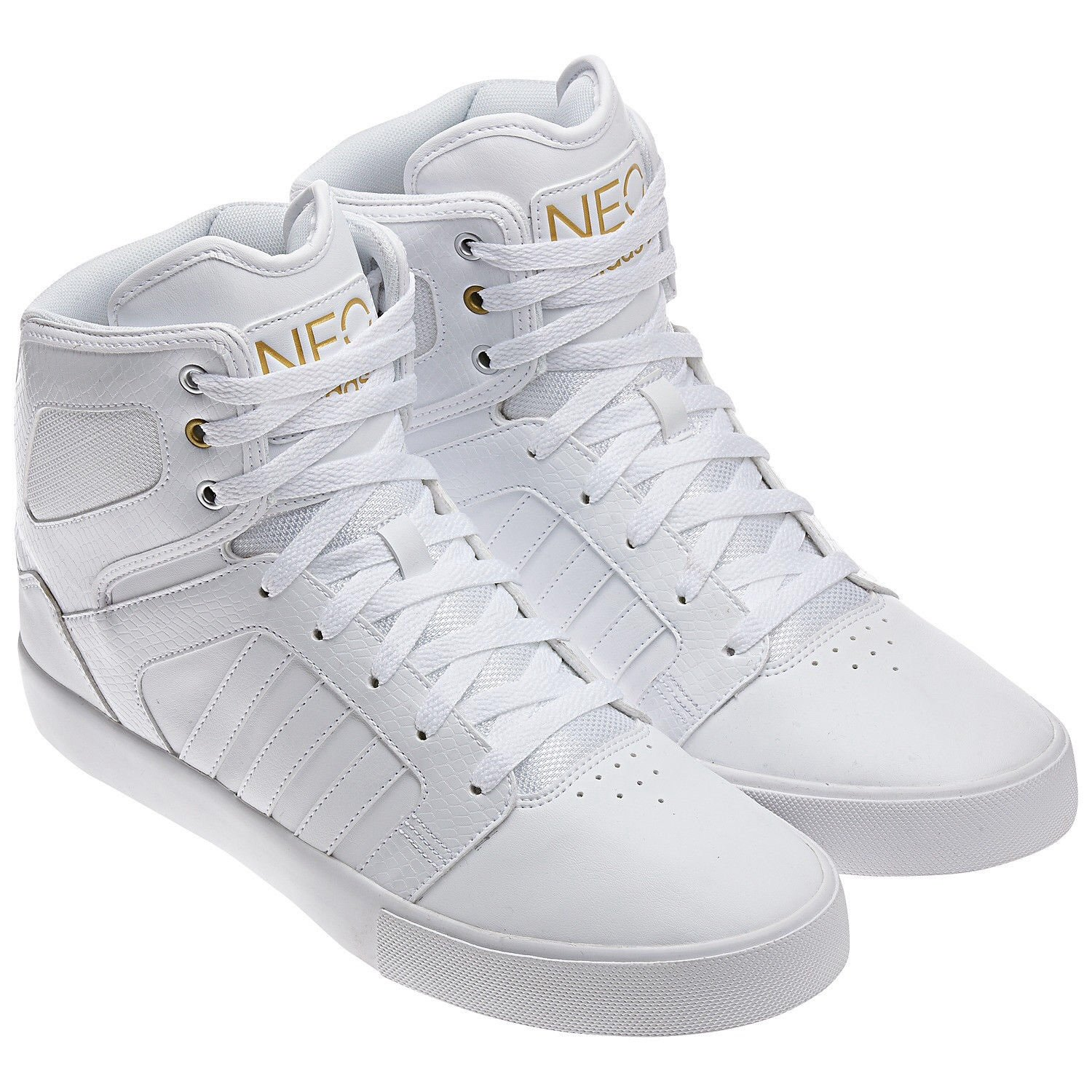 wholesale dealer b52bd 58c3f ... gold leather whiteout mens shoes adidas neo high tops grey ...