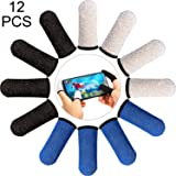12 Pieces Finger Sleeve Mobile Game Controller Finger Sleeve Touch Screen Finger Cot, Anti-Sweat Thumb Fingers Protector for Mobile Phone Games