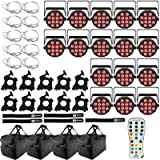 (16) Chauvet DJ SlimPAR T12 BT Bluetooth Wash Lights with Infrared Remote Control & Carry Bags Package