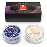 ARTEZA Multi-Purpose Chunky Holographic Glitter Jars (Set of 2 Colors: Fairy Dust & Moonstone - 5 g Each)