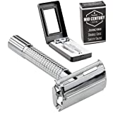 Journeyman Safety Razor with safe-grip handle & 5 Double Edge (DE) Blades and Travel Case - Single Blade Butterfly/TTO Open Shaving Kit - Old Fashioned Classic Edged Wet Shave Set