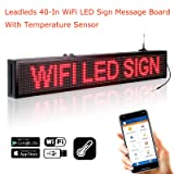 Leadleds 40-in WiFi Sign LED Message Board with Temperature Sensor, Fast Programmable by Smartphone and PC Software, Indoor Use for Advertising, Store, School, Cafe, Car Windows (Red) (Color: Red, Tamaño: 40