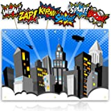 Bigtime Signs XL Superhero Backdrop with 6 Comic Action Word Photo Booth Props - Compliments any Super Hero Birthday Party - 4 foot x 6 ft - Cityscape Back Drop Banner Decoration Hangs on Wall Easily (Color: Blue, Tamaño: 4' x 6')