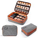 Electronics Organizer, Jelly Comb Electronic Accessories Cable Organizer Bag Double Layer Travel Cable Storage Bag for Cables, Laptop Charger, Tablet (Up to 11'')and More-Thick Large(Orange and Gray) (Color: Orange and Gray, Tamaño: Thick Large)