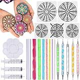 Mandala Dotting Tools 22 Pcs Mandala Rocks Painting Kit, Include Mandala Stencil, Mandala Dotting Pen, Paint Tray, Syringe for DIY Mandala Painting Art Crafts by INFELING (Color: 22 Pcs Tools Kit)
