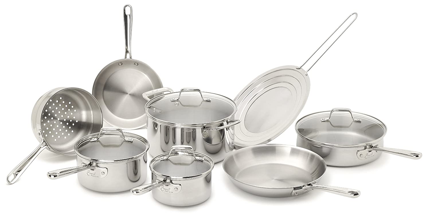 Emeril by All-Clad E914SC64 PRO-CLAD Tri-Ply Stainless Steel Dishwasher Safe 12-Piece Cookware Set, $150.00