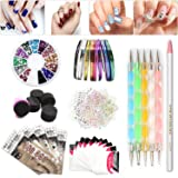 Nail Art Set, Tape Line Nail Stickers, Colored Rhinestones Decoration, 45 Sheets Nail Art Stickers, Gradient Nails Sponges for Color Fade Manicure, Dotting Marbleizing Pen for Pedicure (Tamaño: Assorted Set 6)