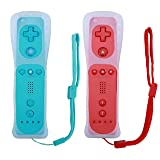 Poulep 2 Packs Wireless Controller for Nintendo Wii/Wii U Console with Silicone Case and Wrist Strap (Red and Blue) (Color: Red and Blue)