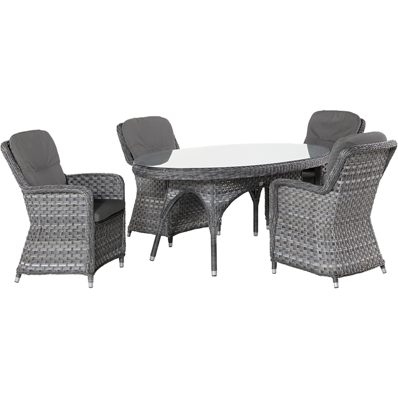 4Seasons Outdoor Eldorado 5-teilige Sitzgruppe mit Esstisch oval Polyrattan Duet Charcoal