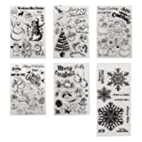 6 Sheets Different Christmas Theme Clear Stamps Scrapbooking Album Paper Cards Making Decoration(Christmas Theme) (Color: Christmas Clear Stamps)