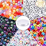 1400pcs 5 Color Acrylic Alphabet Cube Beads Letter Beads with 1 Roll 50M Crystal String Cord for Jewelry Making(6mm) (Color: Multicolor)