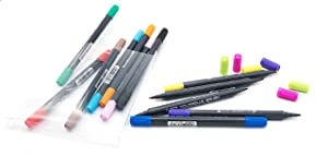 PuTwo Dual Brush Pens in 12 Colors Brush Markers Paint Markers Paint Pens Watercolor Paint Calligraphy Pens Watercolor Markers for Adults Coloring Book Note Taking Writing Planning Art Project (Color: 12 Colors Dual, Tamaño: 12 Dual Calligraphy Pen)
