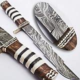 Rare Custom Damascus Kriss Dagger Knife Real Camel Bone Handle (KH-1033)
