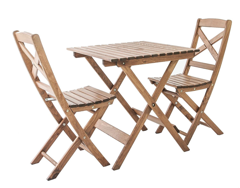 GARDENho.me Nordische Gartenmöbel 3tlg. Massivholz Balkonset Lotta 5 Farbvarianten Tischgruppe Braun