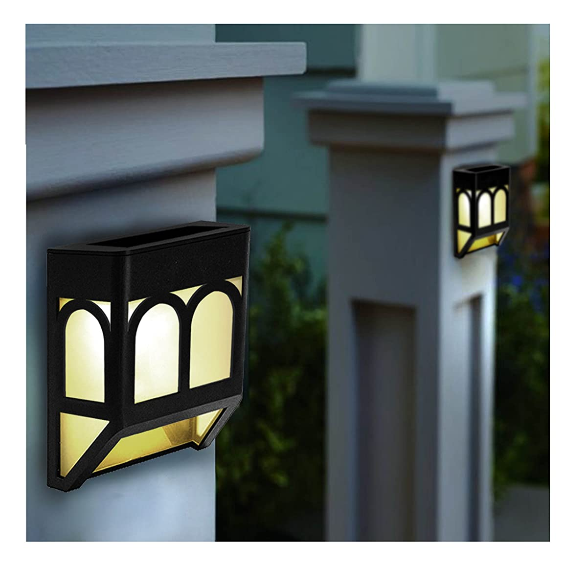 Upgrade Solar Powered Wall Mount Lights Landscape Garden Yard Fence Outdoor Lights White Warm (4)
