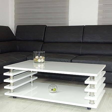 Couchtisch weiß 115x65cm Wohnzimmer Tisch LACK Beistelltisch Hochglanz