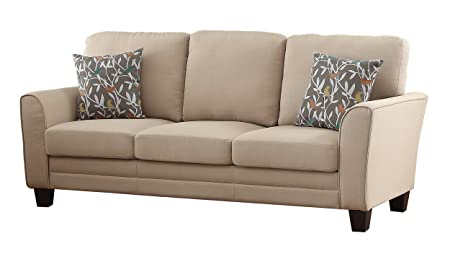 Homelegance 8413BE-3 Fully Upholstered with Piping Trim Linen Like Fabric Beige Sofa
