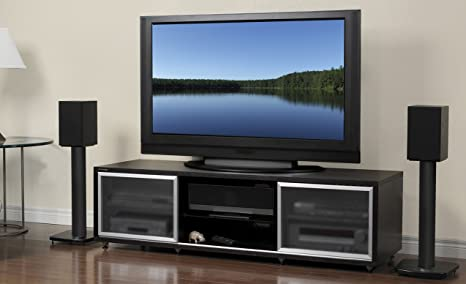 PLATEAU SR-V 65 B Wood TV Stand, 65-Inch, Black Oak Finish