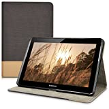 kwmobile Elegant canvas synthetic leather case for Samsung Galaxy Tab 2 10.1 in Black Brown with convenient STAND FEATURE (Color: .black brown, Tamaño: 10.1 Inch)