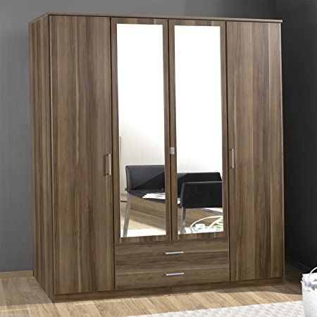 Hf4you Omega 180cm 2 Mirror 2 Drawer German Manufactured Wardrobe - Walnut