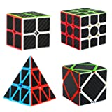 Dreampark Speed Cube Bundle [4 Pack] 2x2 3x3 Pyramid Skew Carbon Fiber Sticker Smooth Magic Cube Puzzle Toy (Color: Black)