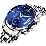 Men's Watches Luxury Fashion Casual Dress Chronograph Waterproof Military Quartz Wristwatches for Men Stainless Steel Watch (Color: 23533)