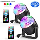2-Pack Ezire Sound Activated Party Lights with Remote Control Dj Lighting, RGB Disco Ball, Strobe Lamp 5W 7 Modes LED Stage Lights for Home Outdoor Holidays Dance Parties (Color: Black)