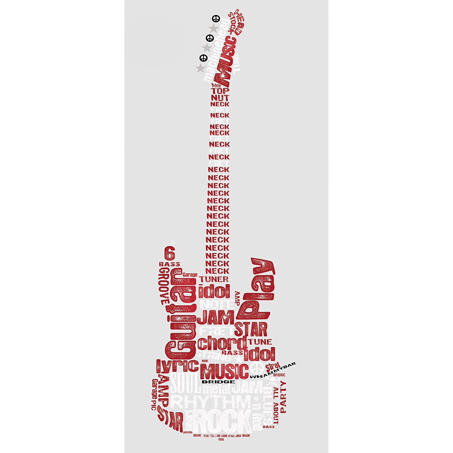 Rock Guitar Peel and Stick Giant Wall Decal