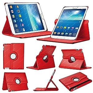 Stuff4 GT38.0-L360-PAT-DMND-R - Funda para tablet Samsung Galaxy Tab 3 8.0 (resistente a rayones, función soporte, giratoria 360°, protector de pantalla y lápiz táctil), rojo  Informática Comentarios y más información