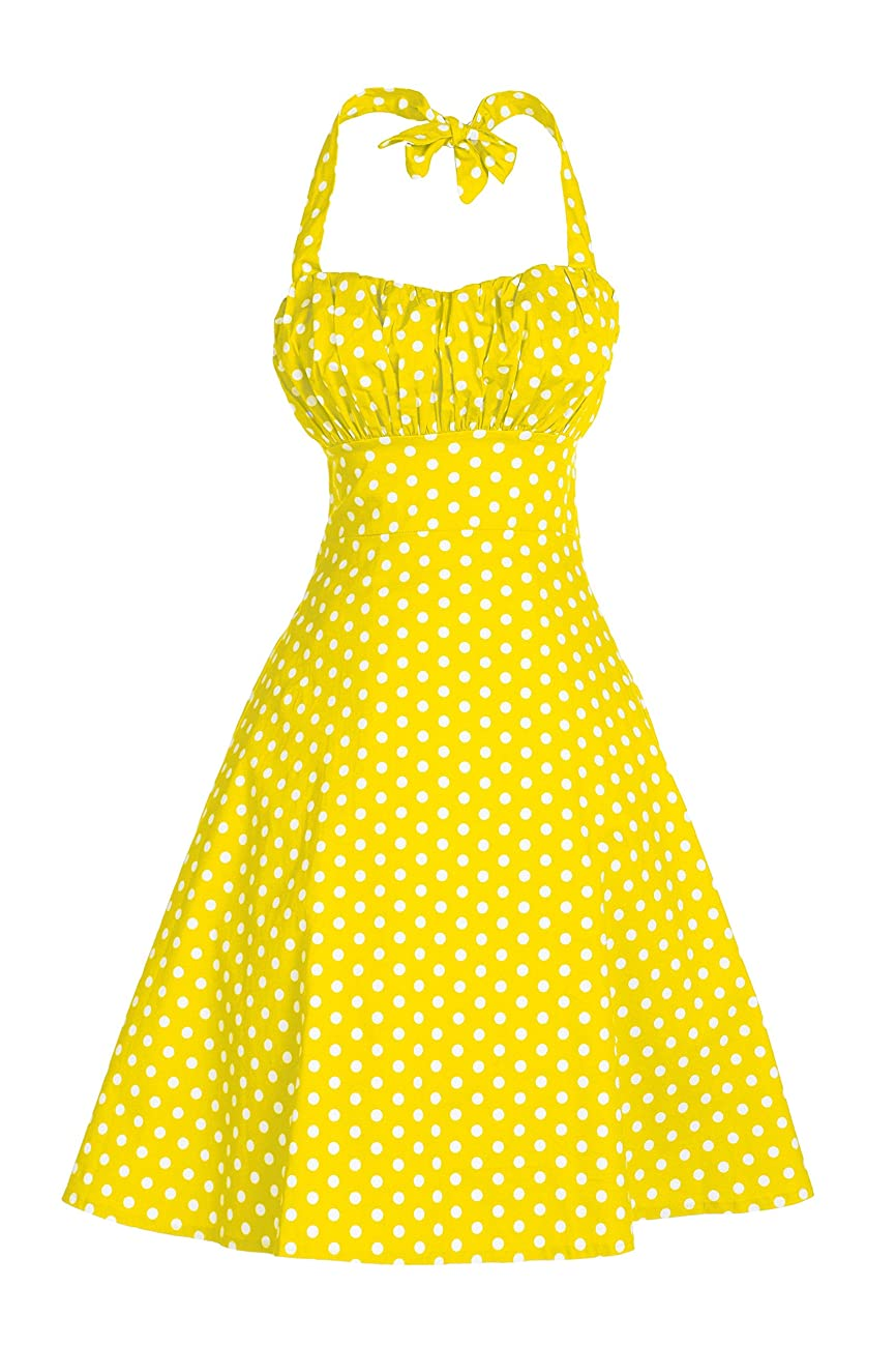 V Fashion Women's Rockabilly 50s Vintage Polka Dots Halter Cocktail Swing Dress 0
