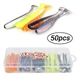 RUNCL Anchor Box - Paddle Tail Worms, Soft Fishing Lures Shad Body Boot Tail Flat Nose (Pack of 50) (Color: Paddle Tail (2.75in, pack of 50))