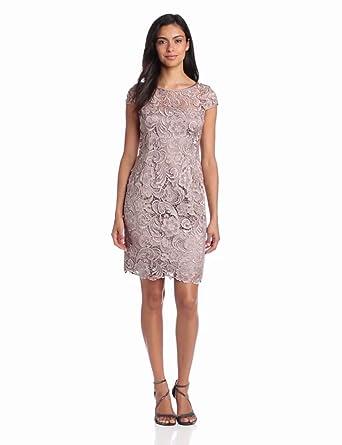 Adrianna Papell Women's Cap Sleeve Lace Dress, Buff, 4