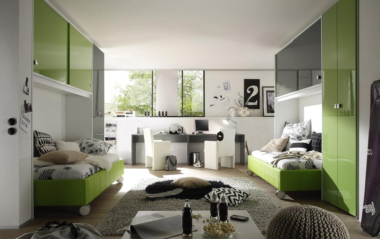 Jugendzimmer kiwi grün/ anthrazit/ weiss jetzt bestellen