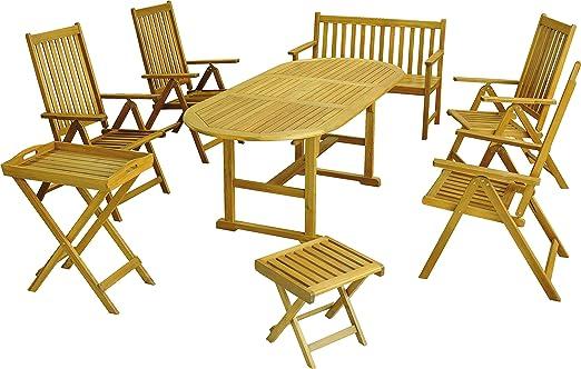 Mobili da giardino Set 8pz Poltrona pieghevole tavolo da giardino panchina da giardino sgabello FSC® legno acacia