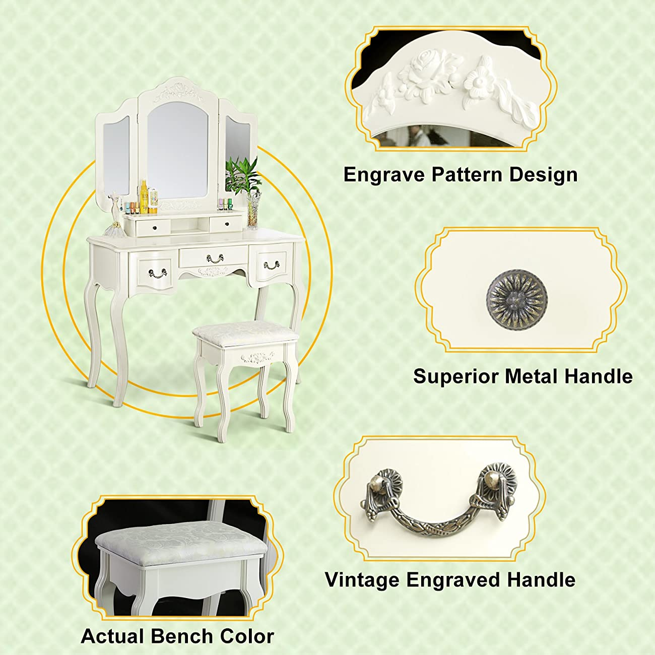 Tribesigns French Vintage Ivory White Vanity Dressing Table Set Makeup Desk with Stool & Mirror Bedroom 4
