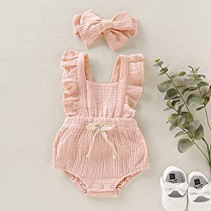 Viworld Infant Baby Girl Twins Bodysuit Newborn Ruffles Romper Sunsuit Outfit Princess Clothes (Pink 2, 18-24 Monthes) (Color: Pink 2, Tamaño: 18-24 Monts)