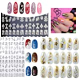 New Arrival 2 Sheets Silver & Gold 3D Nail Art Stickers Decals,108pcs/sheet Stylish Metallic Mixed Designs Nail Tips Accessory Decoration Tool (Color: Silver&Gold)
