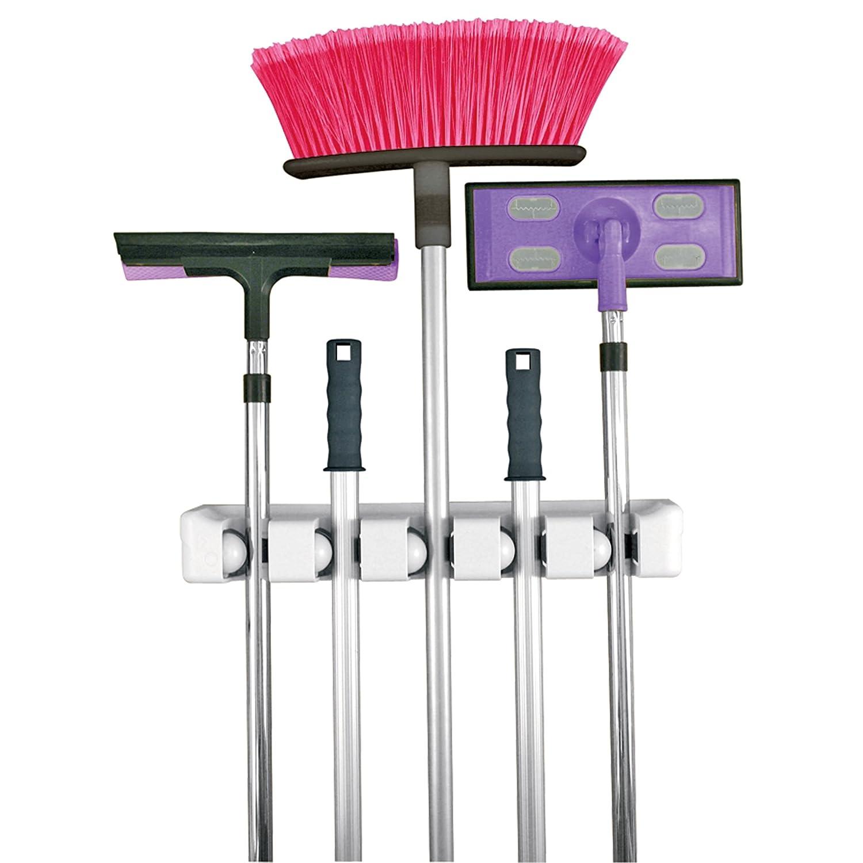 ... Broom Stick Handle Holder Wall Mount Organizer Closet Storage | eBay