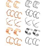 Jovitec 10 Pairs Stainless Steel Ear Cuff Helix Cartilage Clip on Earrings Non Piercing Cartilage Earrings for Women Girls Supplies, 5 Styles (Steel and Rose Gold) (Color: Steel and Rose Gold)