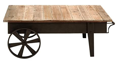 Benzara Metal Wood Coffee Table Accent Collection, 45 by 17-Inch, Brown