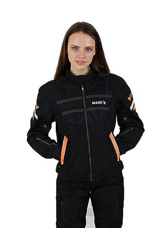 NERVE 15110710209_05 Cool Slight Blouson Moto d'Eté Textile, Noir/Orange, Taille : XL