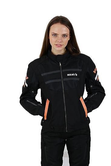 NERVE 15110710209_03 Cool Slight Blouson Moto d'Eté Textile, Noir/Orange, Taille : M