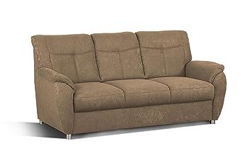 Cavadore Sunuma 3-Sitzer Sofa, Schaumstoff, braun, 189 x 90 x 91 cm