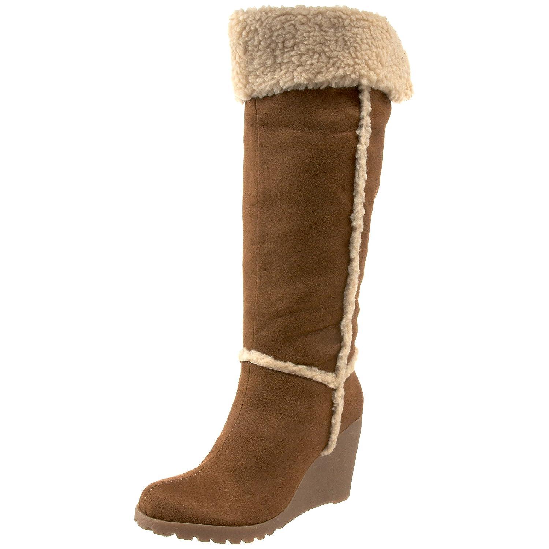 new unionbay womens suede winter fur cuff wedge brown