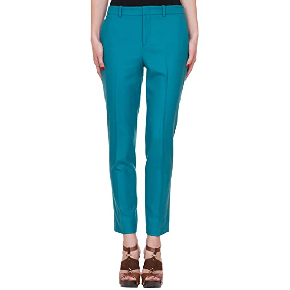 Gucci Women's Turquoise Blue Wool Cashmere Stretch Flannel Holiday Pants