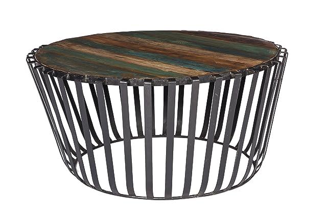 Stylla Londra designer fatto a mano da legno di recupero e ferro industriale tavolino i industriale tavolino rotondo in legno e metallo i tavolino i Jali retro vintage a mano Legno massello ferro