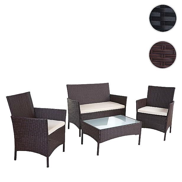 Salottino polyrattan HWC-B21 panca, 2x poltrone e tavolino ~ marrone con cuscini avorio